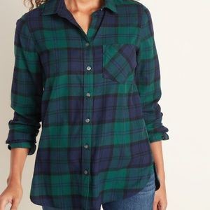 Old Navy Classic flannel navy and green plaid L